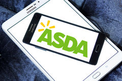 Asda stores logo. Logo of the international chain of convenience stores asda on samsung mobile phone a5 Stock Images