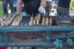 Ase a la parilla el cordero asado a la parrilla de la carne de los kebabs del cerdo que merienda en el campo el kebab adobado keb fotos de archivo libres de regalías