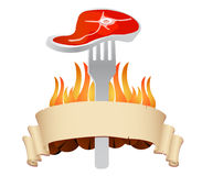 Ase a la parilla el vector de la insignia del restaurante del filete Foto de archivo