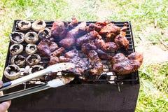 Ase a la parilla la carne y las setas al aire libre asadas a la parrilla de la comida de la carne en las manos de la placa Fotos de archivo libres de regalías