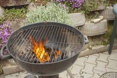 Ase a la parilla la parrilla, el carbón de leña y las llamas del fuego Fotografía de archivo