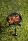 Ase a la parilla la parrilla con el fuego en la naturaleza, ascendente al aire libre, cercano fotos de archivo libres de regalías