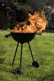 Ase a la parilla la parrilla con el fuego en la naturaleza, ascendente al aire libre, cercano fotos de archivo