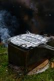Ase a la parrilla con los pescados en una hoja en una parrilla Imagen de archivo