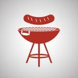 Ase a la parrilla el concepto del diseño, del Bbq y del menú, vector editable Imagen de archivo