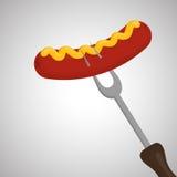 Ase a la parrilla el concepto del diseño, del Bbq y del menú, vector editable Imagen de archivo libre de regalías