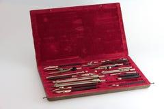 ?ase von Zeichnungsinstrumenten Lizenzfreies Stockbild
