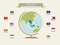 ASEAN-översikt med flaggan - Fotografering för Bildbyråer