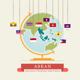 ASEAN-översikt och hängande flaggor - Royaltyfri Foto