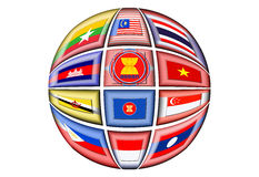 ASEAN. The Association of Southeast Asian Nations is a political and economic organization of ten countries located in Southeast Asia Stock Image