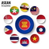 ASEAN-anslutning av sydostliga asiatiska nationer och medlemskapet royaltyfri illustrationer