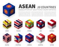 ASEAN Associação das nações e da sociedade asiáticas do sudeste projeto cúbico da bandeira 3D Vetor ilustração stock