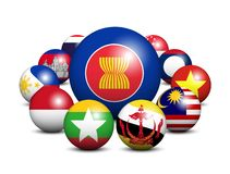 Free ASEAN . Association Of Southeast Asian Nations . 3D Circle Balls And Member Flags Design . White Isolated Background . Vector Stock Photo - 158118220