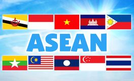 ASEAN, Association of Southeast Asian Nations. Economic union of some countries of Southeast Asian region. ASEAN, Association of Southeast Asian Nations royalty free stock photography