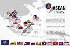 ASEAN Association of Southeast Asian Nations and GPS navigator location pin with country flag of membership on world map . Vec. Tor royalty free illustration