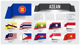 ASEAN . Association of Southeast Asian Nations . And membership . floating paper flags design . World map background . Vector royalty free illustration