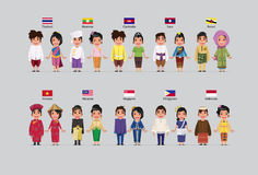 ASEAN boys and girls. In traditional costume with flag