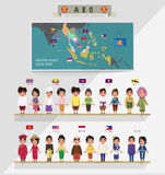 ASEAN boys and girls in traditional costume with flag. map of as Royalty Free Stock Photos