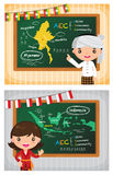 Asean cartoon character costume aec classroom Stock Images