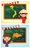 Asean cartoon girl costume aec classroom Stock Image