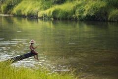 Children fishing stock image