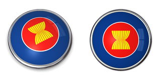 ASEAN del tasto della bandiera Fotografie Stock