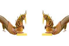 Asean dragon or king of Nagas gate . Asean dragon or king of Nagas gate  on white isolated Royalty Free Stock Photo