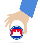 ASEAN Economic Community, AEC in businessman hand with Cambodia, for design present in  on white background Royalty Free Stock Image