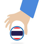 ASEAN Economic Community, AEC in businessman hand with Thailand, for design present in  on white background Stock Photos