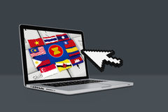 ASEAN Economic Community, AEC with laptop. On  background Stock Image
