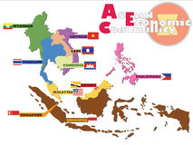 ASEAN Map, AEC. ASEAN Economic Community, AEC map Royalty Free Stock Photography