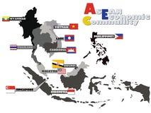 ASEAN AEC Map. ASEAN Economic Community, AEC map Stock Images
