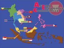 ASEAN Economic Community, AEC. Map Stock Photo