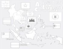ASEAN Economic Community, AEC map. For coloring Stock Photo