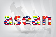 Asean Economic Community (AEC) with map in vector style Stock Photography