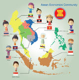 Asean Economics Community(AEC) eps10 format. Thailand flag national map community philippines, , friendship, symbol, character, Indonesia, Singapore Myanmar Royalty Free Stock Photo