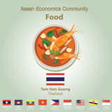 Asean Economics Community AEC food set Royalty Free Stock Photography