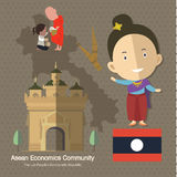 Asean Economics Community AEC Laos. Eps10 format Royalty Free Stock Photography