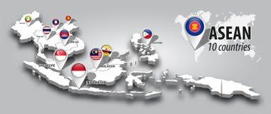 ASEAN et drapeau d'adh?sion sur la goupille de vue de perspective d'Asie du Sud-Est de la carte 3D et de navigateur de GPS sur le images libres de droits