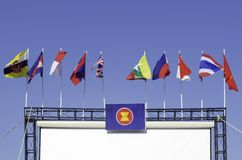 ASEAN flag. The ASEAN flag with the blue sky Royalty Free Stock Photos