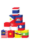 Asean flag box concept Stock Images