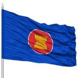 ASEAN Flag on Flagpole Royalty Free Stock Photo