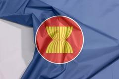 Asean-Gewebeflaggenkrepp und -falte mit Leerraum lizenzfreies stockbild