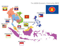 AEC ASEAN MAP. ASEAN Countries Map, location and flags AEC Royalty Free Stock Image