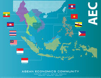 Asean Map dotted style illustration, for background Royalty Free Stock Photos