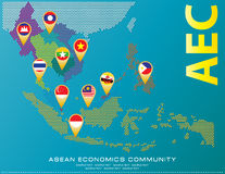 Asean Map dotted style illustration, for background Royalty Free Stock Photo