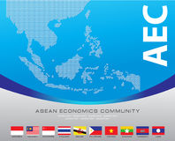 Asean Map dotted style illustration, for background Royalty Free Stock Images