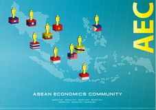 Asean Map dotted style illustration, for background Royalty Free Stock Image