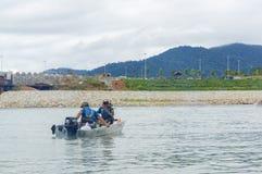 Asean Monsoon Casting Tournament 2017 at Kenyir Lake. TERENGGANU,MALAYSIA - NOV 30,2017: Unidentified anglers from Abu Garcia Team in the Asean Monsoon Casting Royalty Free Stock Photography
