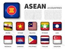 ASEAN och medlemskapanslutning av sydostliga asiatiska nationer Skinande fyrkantig knappflagga för rund vinkel på vit bakgrund me vektor illustrationer